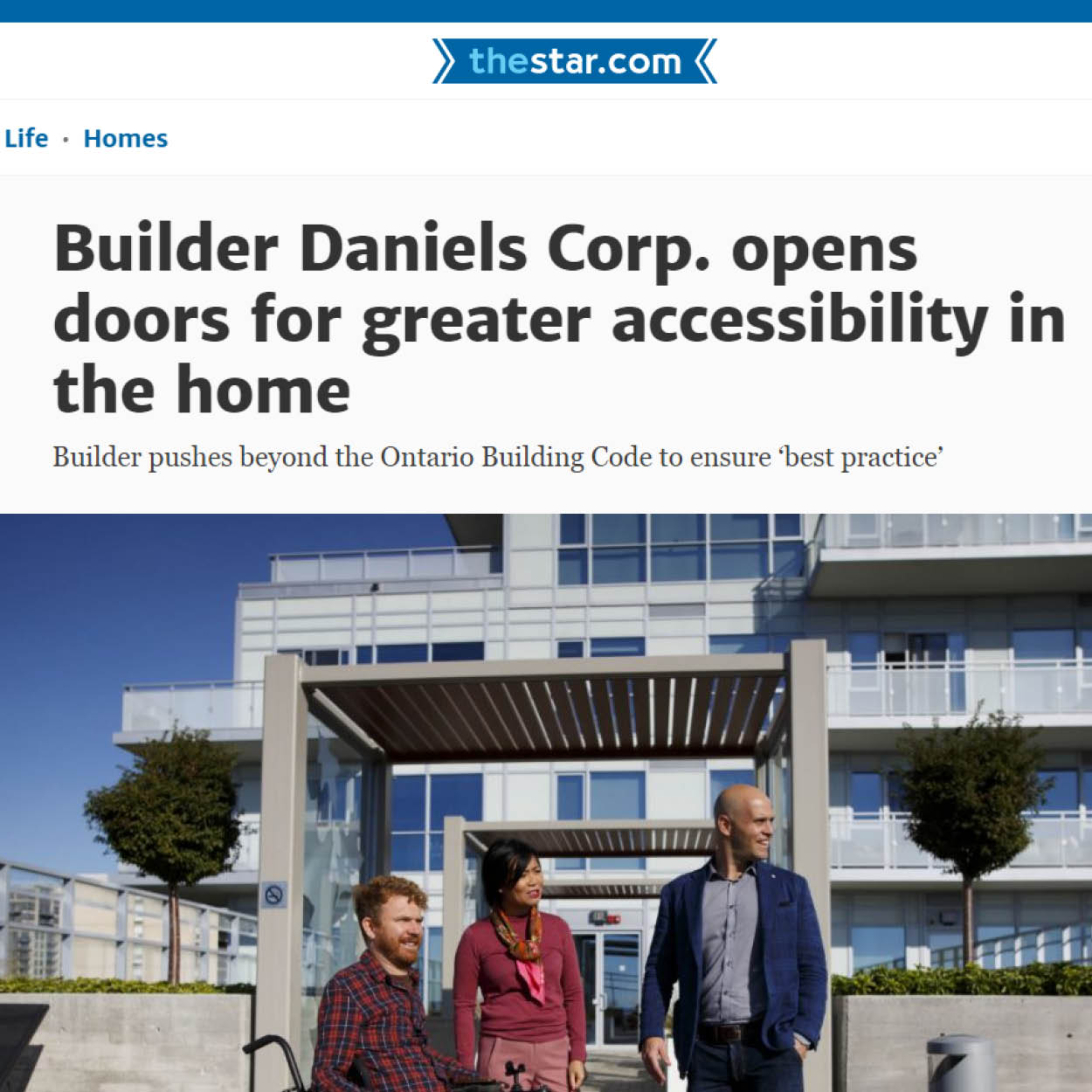 """webpage showing headline reading """"Builder Daniels Corp. opens doors for greater accessibility in the home"""""""