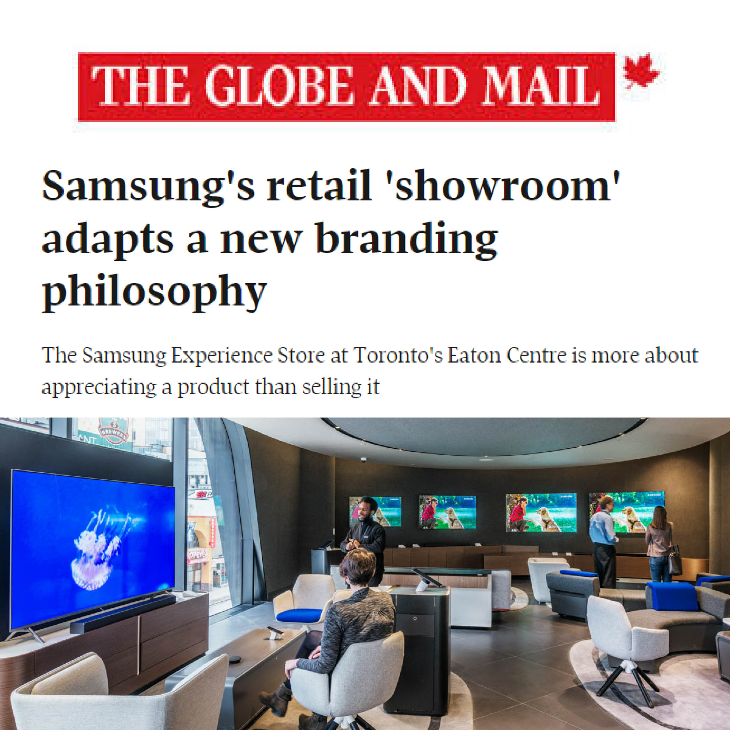 "the headline "" Samsung's retail 'showroom' adapts a new branding philosophy"" and the Globe and Mail logo"