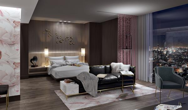 a luxurious hotel suite with generous clearances, pink floral wallpaper and rug, dark wood flooring and walls and floor-to-ceiling windows overlooking a city at night