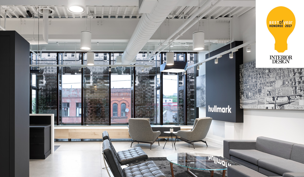 the lobby area of Hullmark Head Office, facing the Queen Street windows and showing the perforated steel screen facade