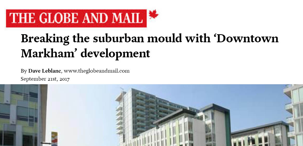 A news article headline and image of a Downtown Markham building