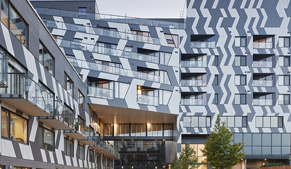 close up of striking black and white angular condominium facade