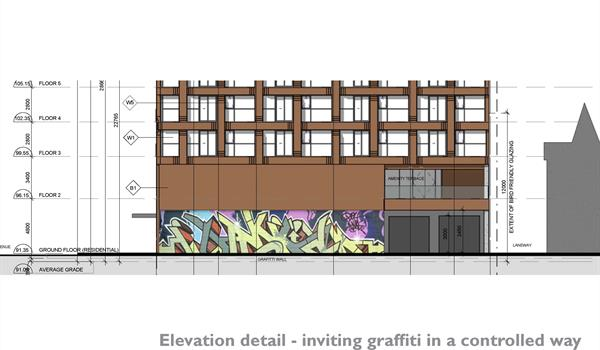 elevation drawing showing the graffiti wall that will be incorporated into the ground floor facade of RUSH Condos