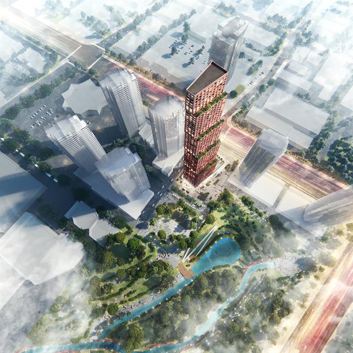 aerial rendering of Expo City 5 and adjacent park