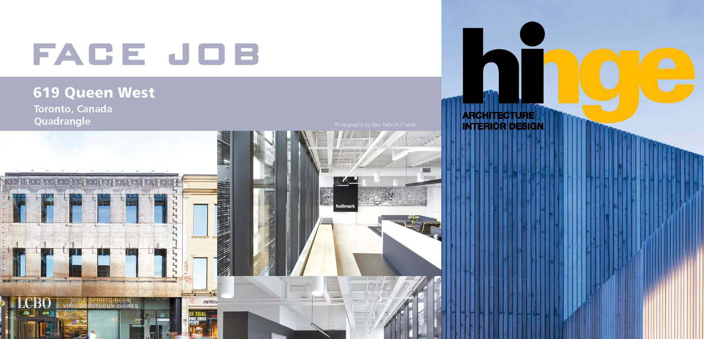 The cover of Hinge and the first page of the article on 619 Queen including pictures of the building