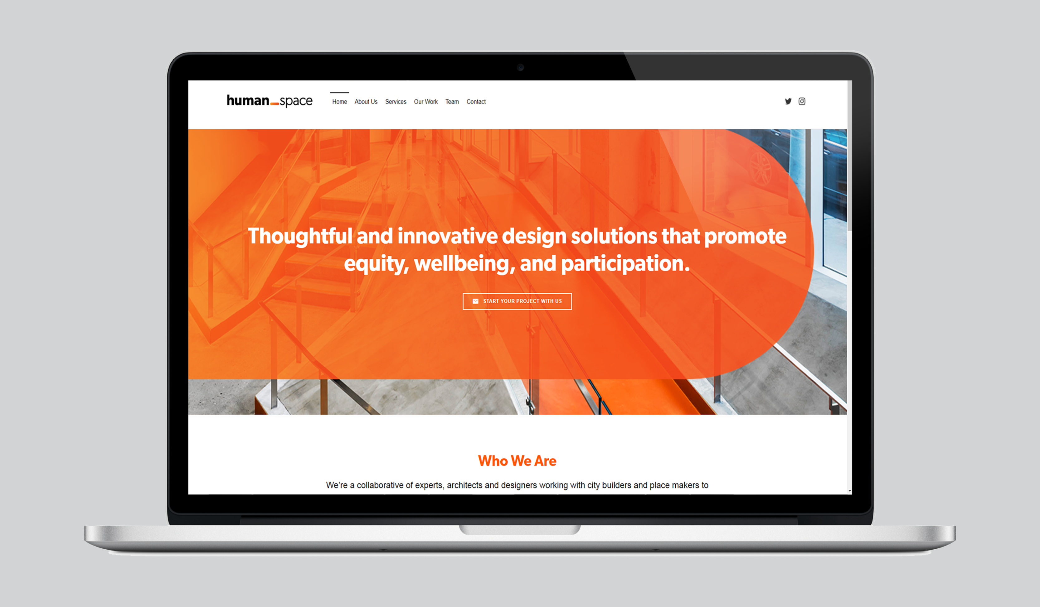 "a laptop open to the Human Space website homepage, with the page banner reading ""Thoughtful and innovative design solutions that promote equity, wellbeing, and participation."""