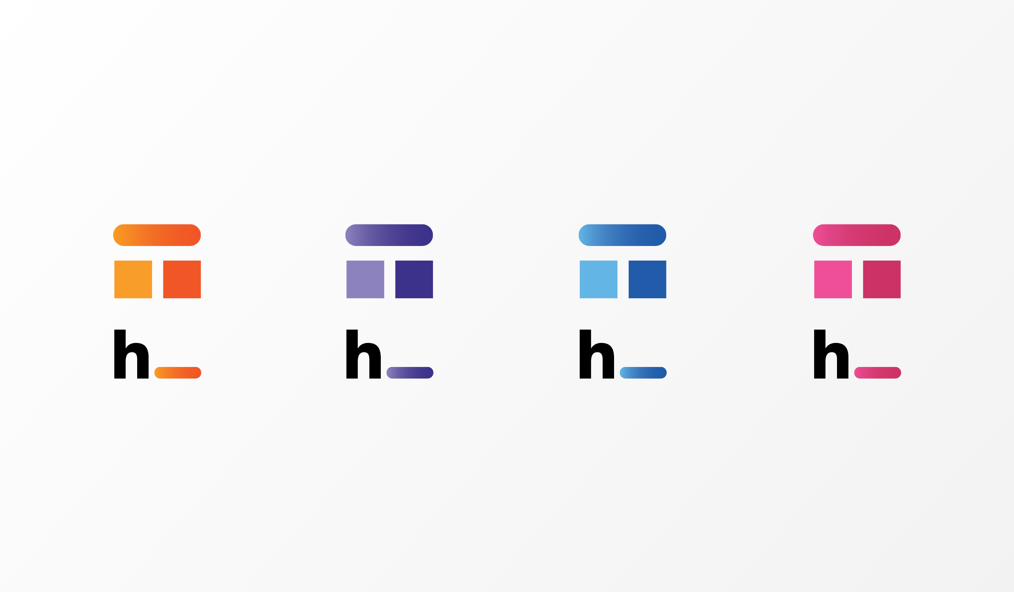colour palettes showing the Human Space shortened logo (h_) in shades of orange, purple, blue, and pink