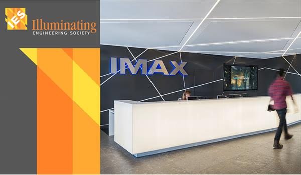 lobby of IMAX headquarters showing tubular lighting criss-crossing across the walls and ceiling