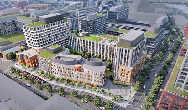 aerial rendering of the Indigenous Hub showing multiple buildings on one block