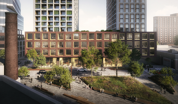 rendering of a landscaped parkette in front of a new brick-clad condo building with red podium, two white high rise towers, and glazed retail at grade