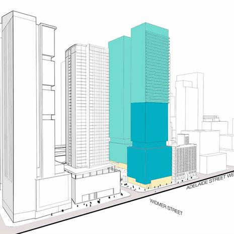massing study of a downtown Toronto condo high-rise