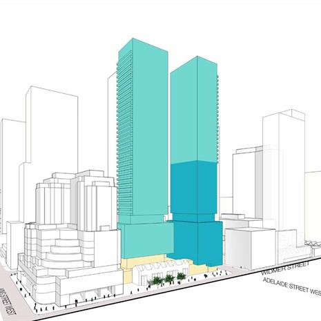 Massing study of a downtown Toronto high rise condo development