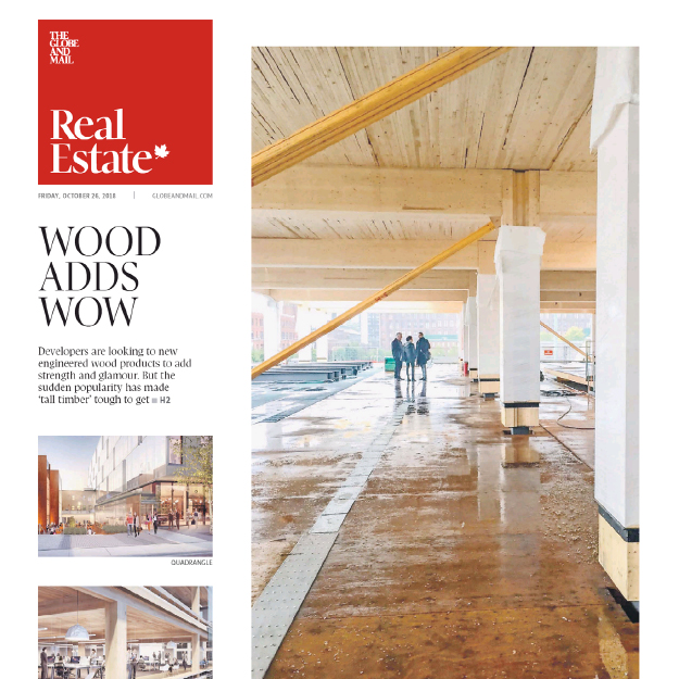 cover spread of the Globe and Mail real estate section with pictures of 80 Atlantic's wood building under construction