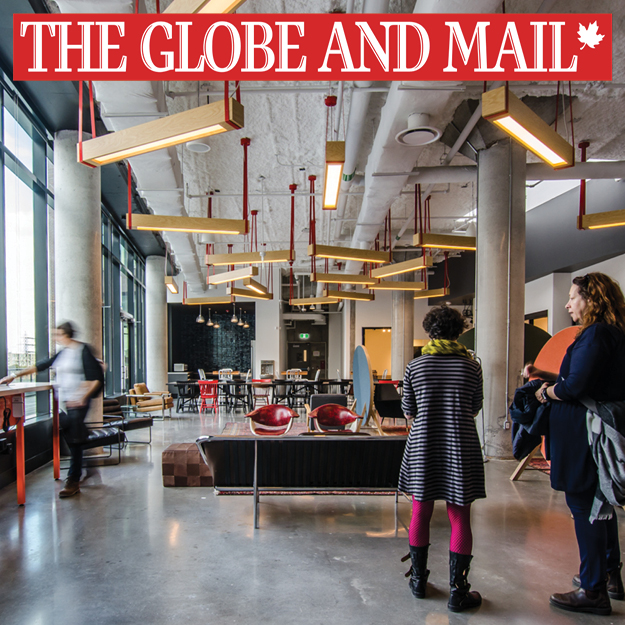 The Globe and Mail logo superimposed overtop a lounge area in Artscape Daniels Launchpad