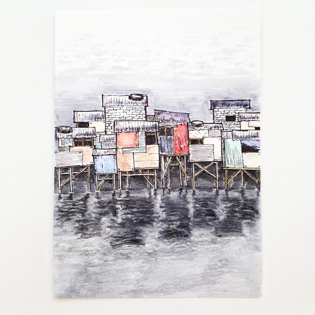 coloured pencil sketch of shanty houses on stilts reflected in water below