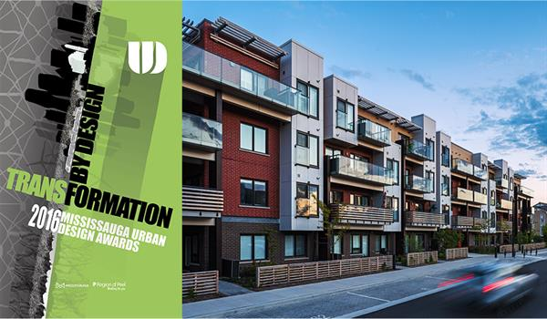 photo of HOT Condos with the 2016 Mississauga Urban Design Awards logo to the right