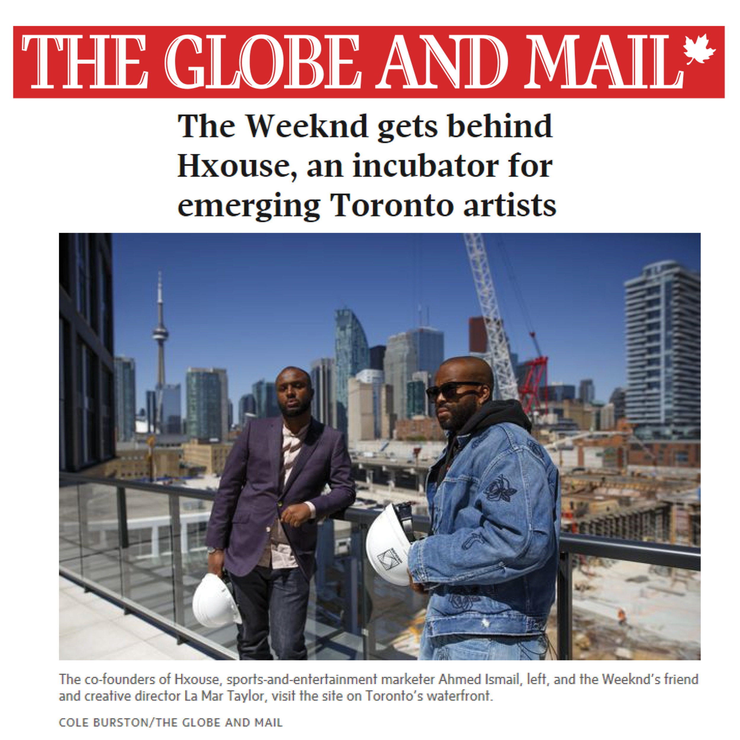 thumbnail with photo of two men on a construction site and the Globe and Mail banner