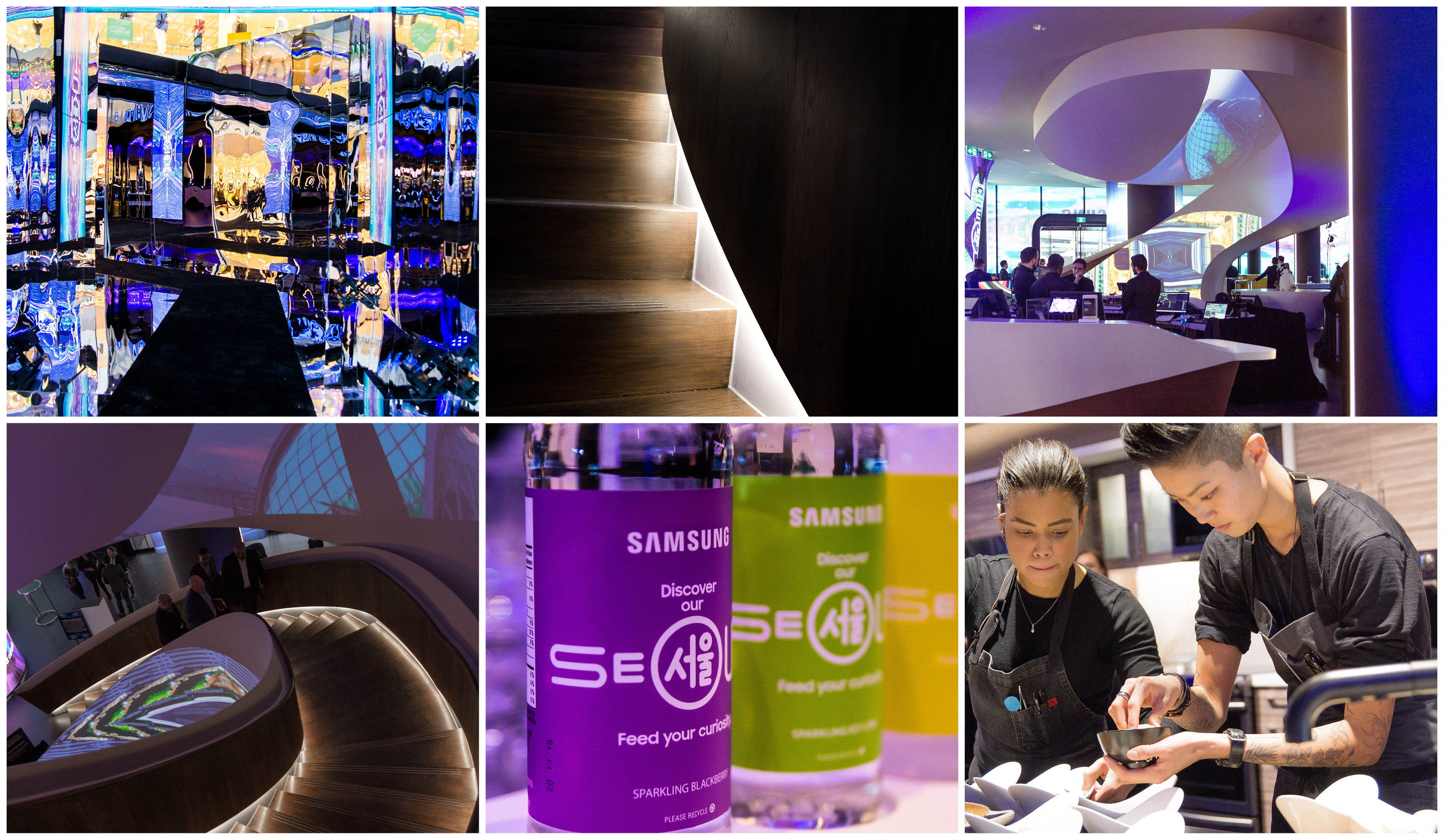 a collage of photos from the Samsung Experience Store showing closeup of the stairs, celebrity chef Kristen Kish, and colourful light projections on the walls