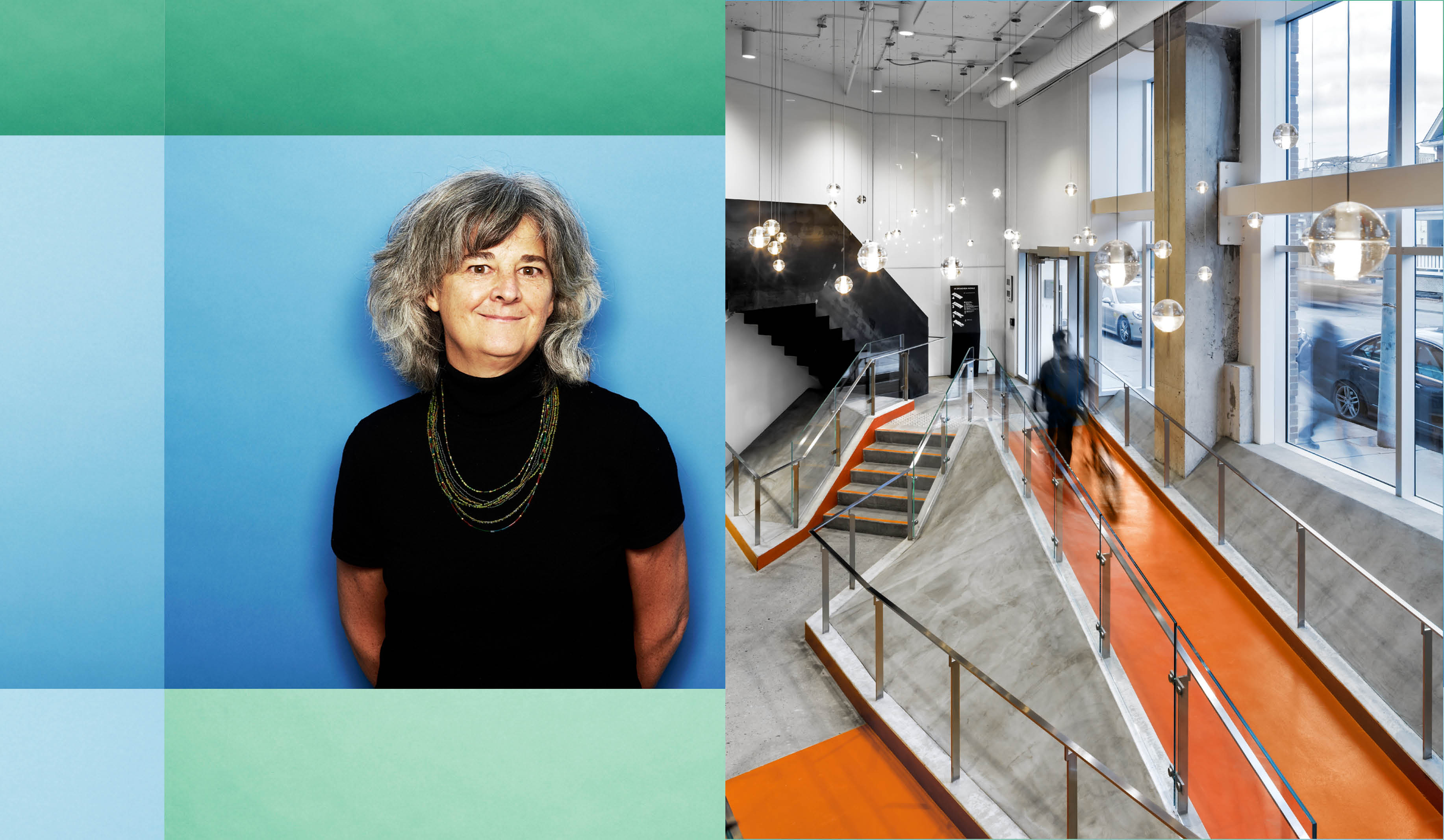 photo of Susan beside a photo of the bright orange ramp of 100 Broadview