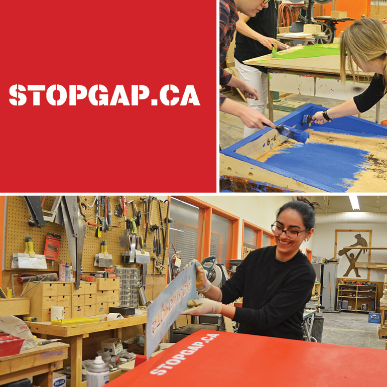 The StopGap logo in the top left corner; a woman smiles while unveiling  the stopgap.ca stencil on a finished ramp; a woman paints a wooden ramp green