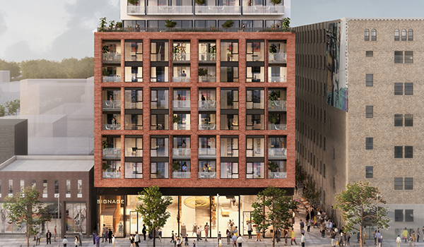 cropped rendering showing the middle tower portion of 170 Spadina, a red brick-clad condo on a busy urban stretch with fully glazed retail at grade