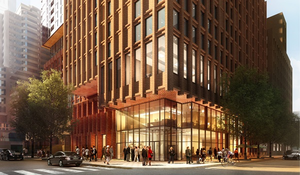 rendering of Theatre District Residences podium from street level