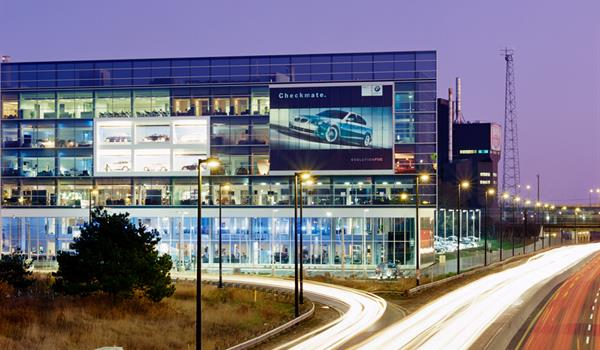 photo of the BMW showroom at dusk