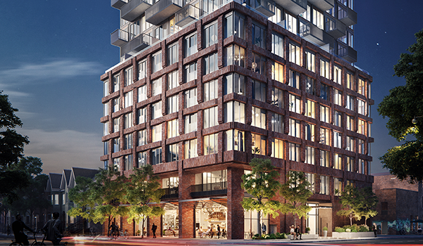 rendering of a condo building podium with woven brick pattern and retail at grade