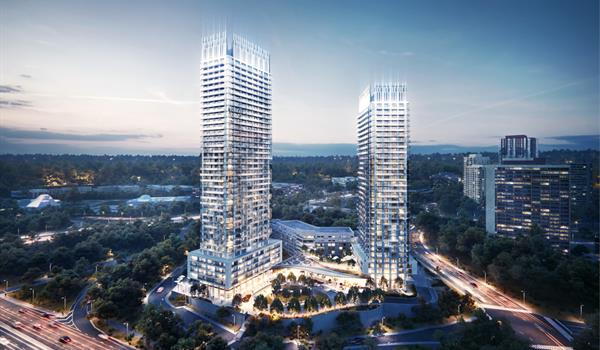 rendering of two condominium towers next to a major highway