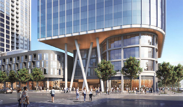 rendering looking across the street to the lower portion of a mixed use building with glazed office tower on top of a curvilinear three-storey podium, with angled white columns holding up the cantileverd tower above