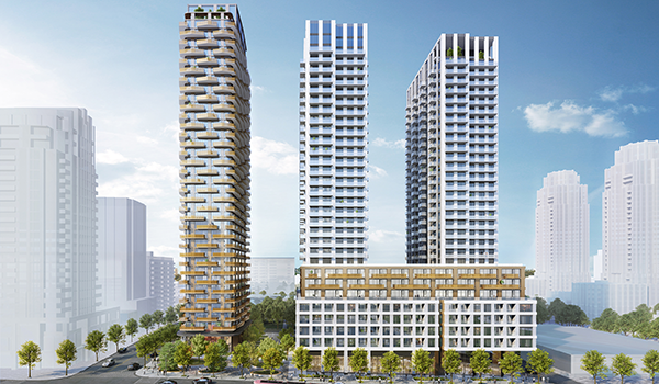 rendering of three residential towers of 30 to 35 storeys, two of which have a shared white podium