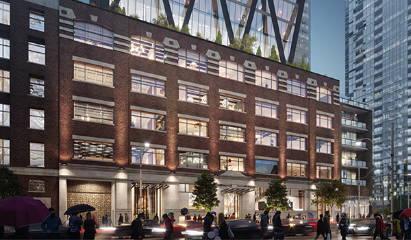 rendering of a heritage red brick factory building adapted into the podium of a high-rise glazed tower with retail at grade