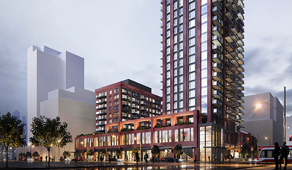 rendering of a red brick-clad condominium with two towers atop a common podium with retail at grade, with the top half of the taller tower cropped out