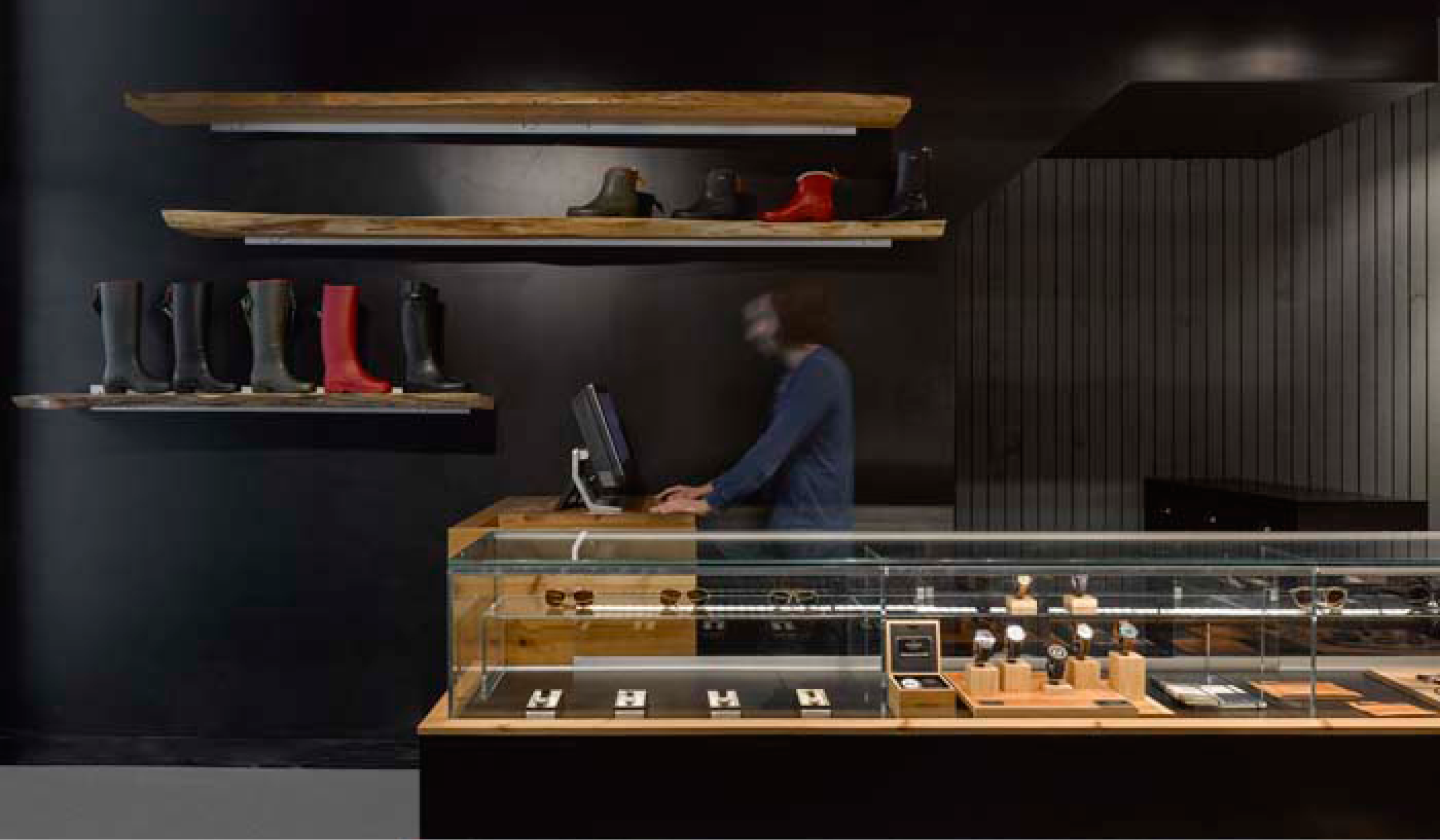 Jewellery display case and service counter at Due West