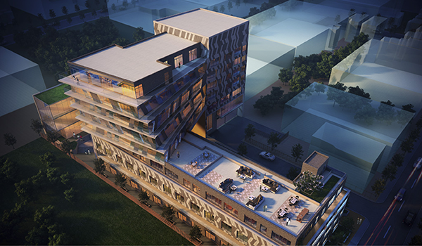 rendering of an architecturally striking mid-rise condo building with angled stripe paneling