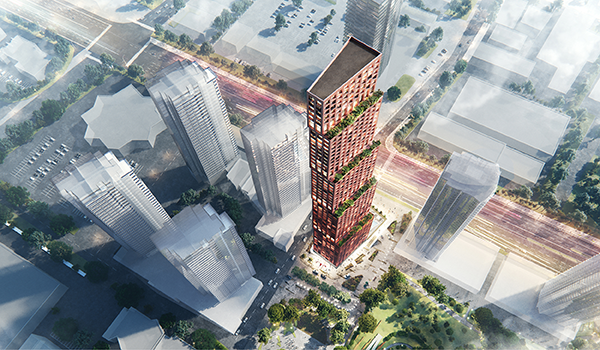 Aerial rendering of a copper coloured high-rise adjacent to a park