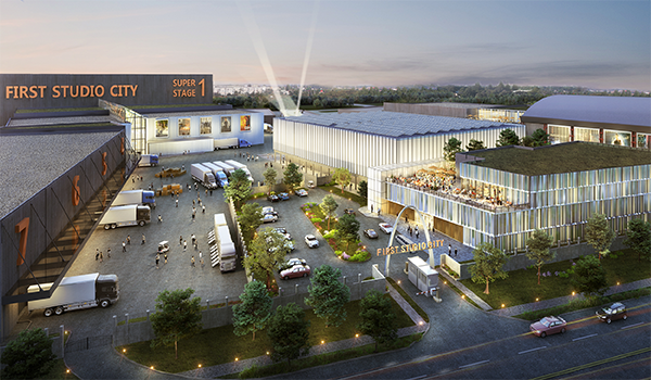 rendering of a film and television studio lot with multiple large sound stages