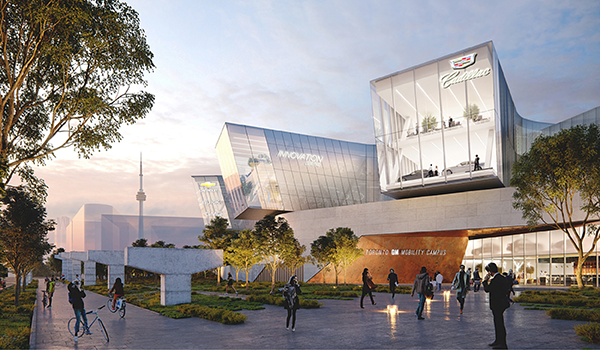 architectural rendering of GM Mobility Campus showing three windows displaying Cadillac brand cars
