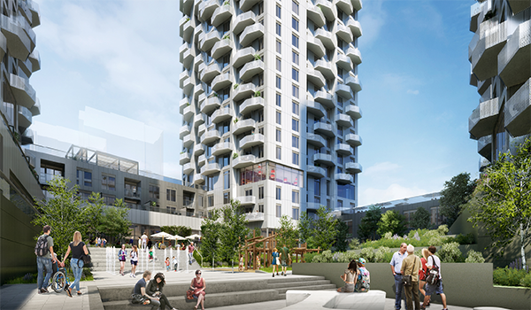 rendering of the Jane and Rutherford mixed-use development courtyard, surrounded by the building towers on three sides
