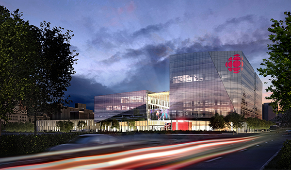 rendering of the fully glazed exterior of Maison Radio-Canada content media office headquarters