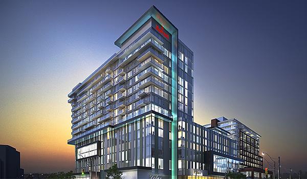 rendering of a Marriott Hotel and condominium building