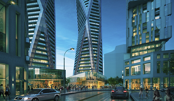 rendering of pedestrian realm at street level of the Vaughan Master Plan showing podiums and tower tower portions of four high-rises