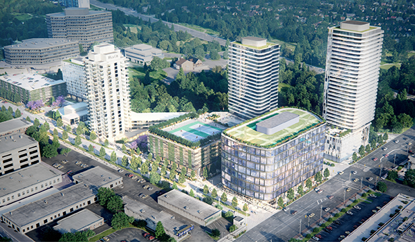 aerial rendering of the proposed additional developments adjacent to the Westin Prince Hotel