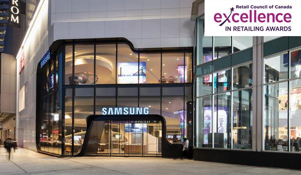 photo of the exterior of the Samsung store at the Eaton Centre with the Retail Council of Canada logo in the top right corner