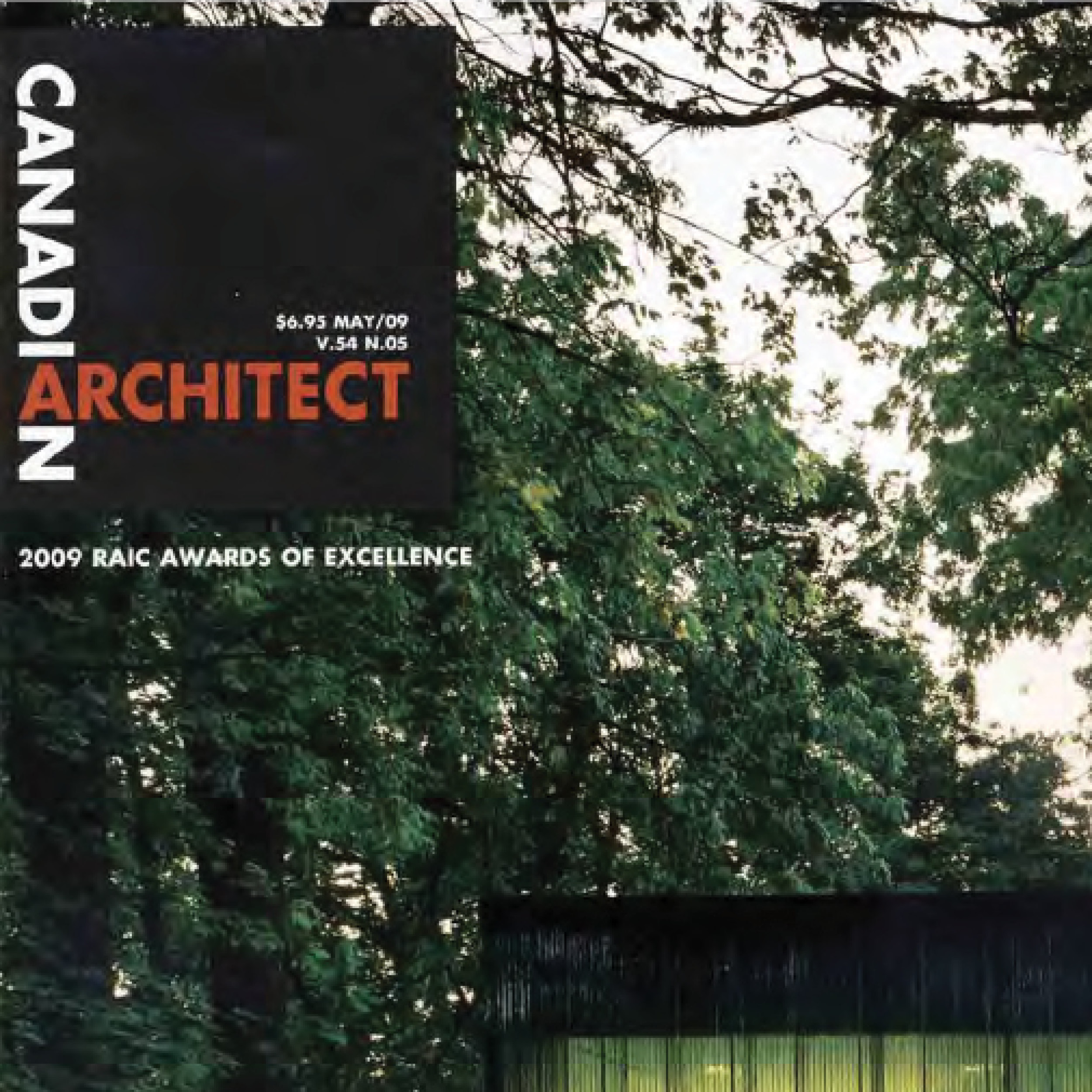 close up of the top left corner of the Canadian Architect magazine from 2009