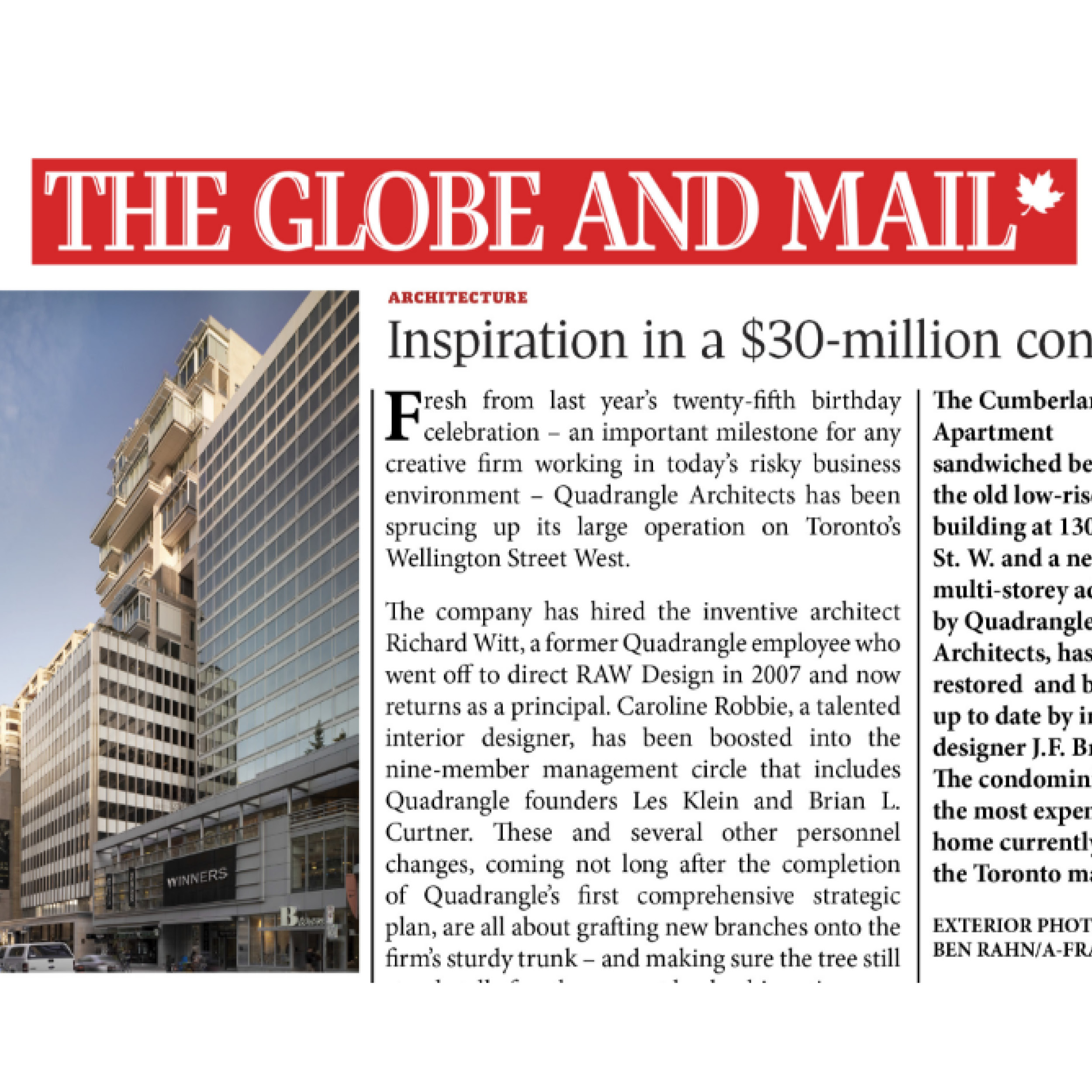Globe and Mail logo and photo of 130 Bloor