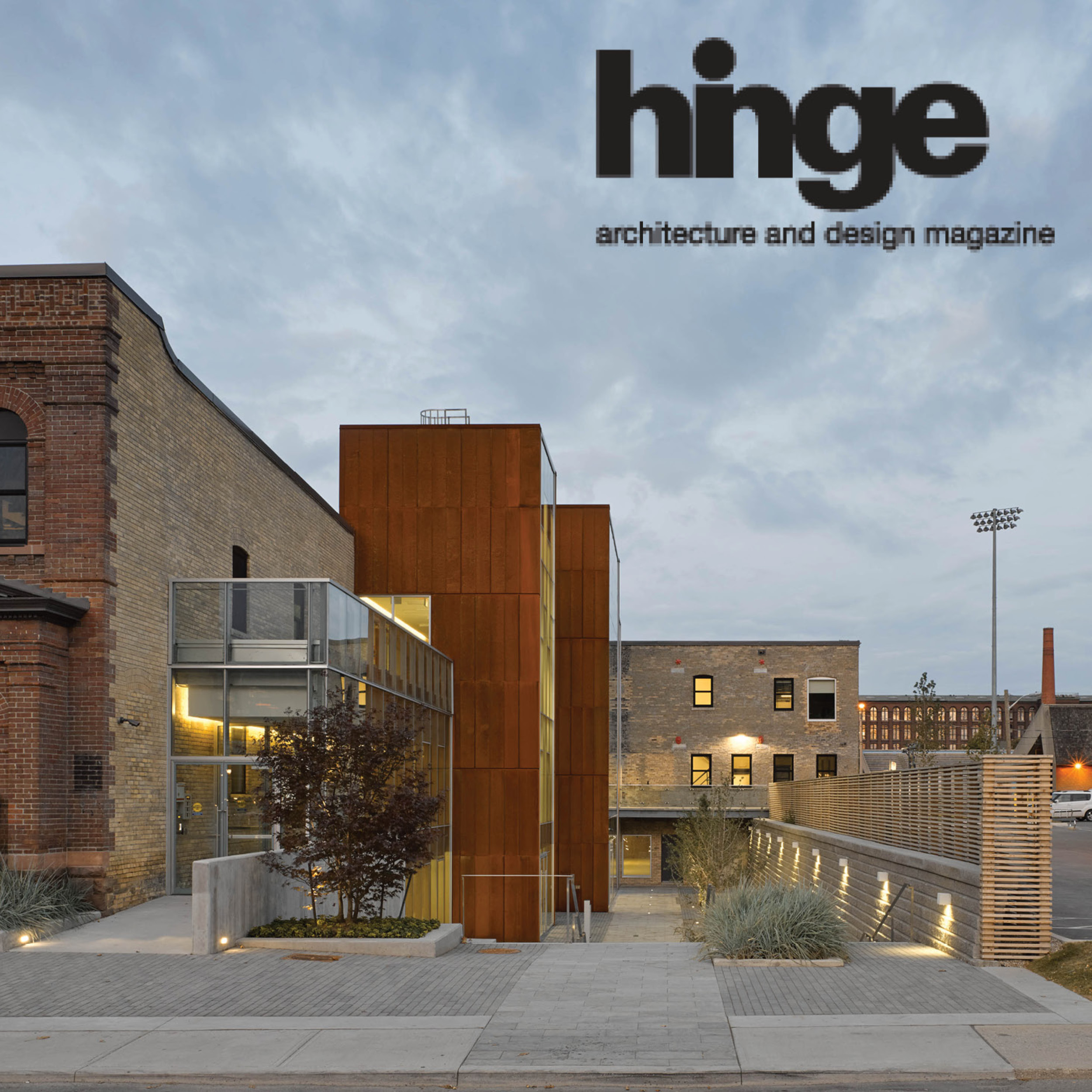 Hinge magazine logo over a photo of 60 Atlantic