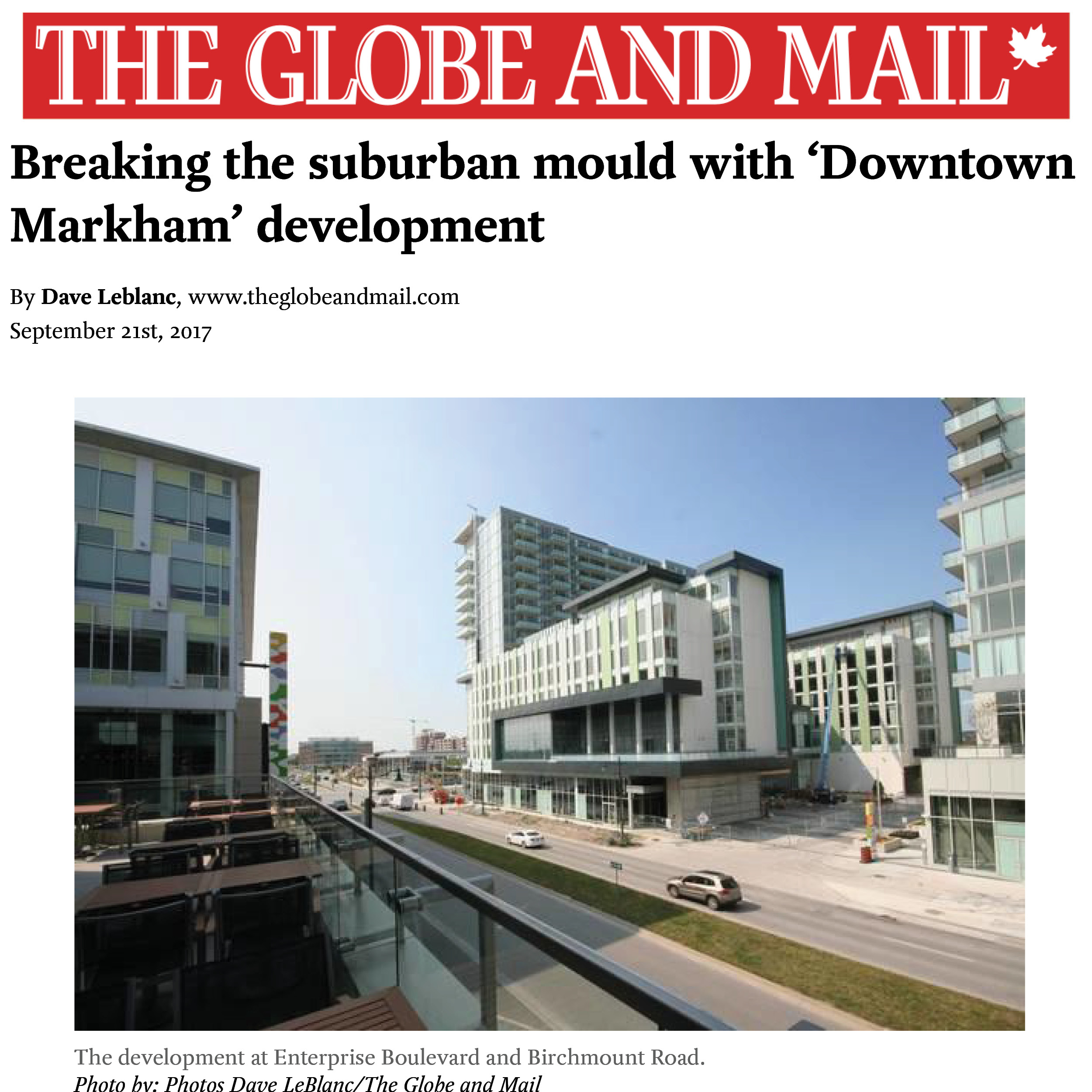 Globe and Mail article about Downtown Markham