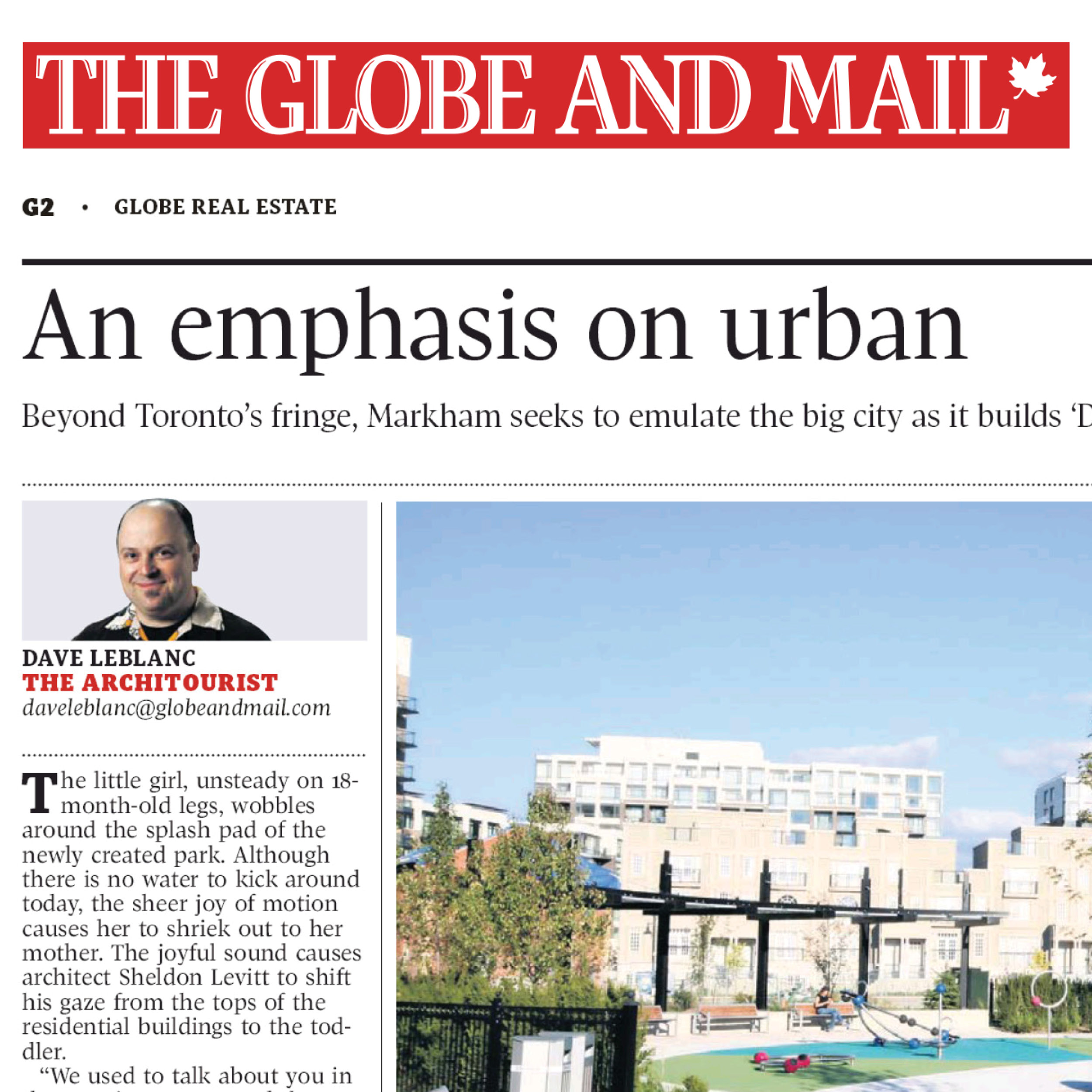 Globe and Mail newspaper article about Downtown Markham