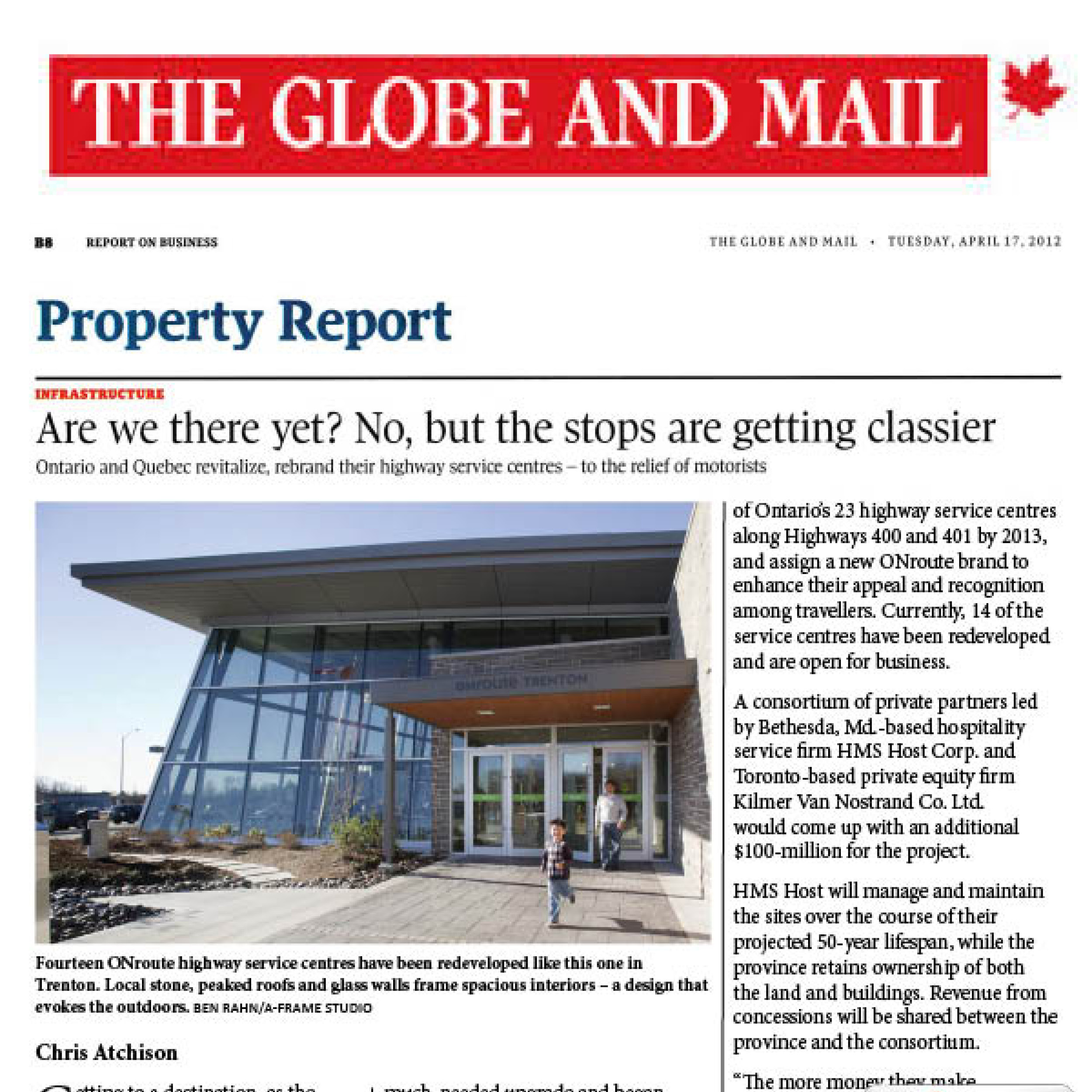 Globe and Mail article about ONroute Service Centres